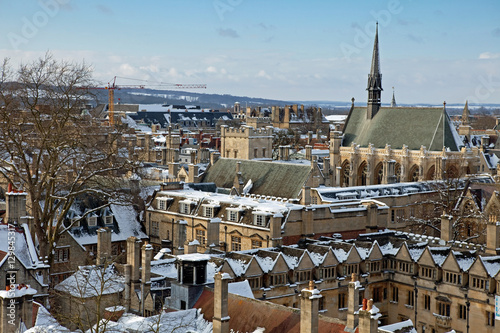 Poster View of Oxford, above the top of Lincoln and Exeter Colleges, UK