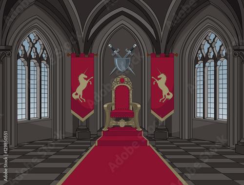 Foto op Aluminium Sprookjeswereld Medieval Castle Throne Room