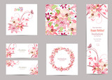 Fototapety collection of greeting cards with blossom lilies for your design