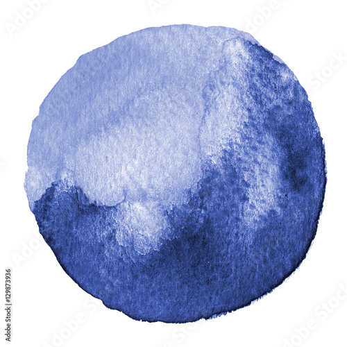 Blue watercolor circle. Stain with paper texture. Design element isolated on white background. Hand drawn abstract template - 129873936
