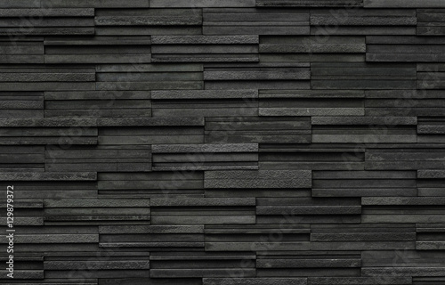 Black bricks slate texture background, slate stone wall texture