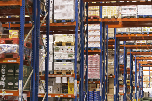 Staande foto Industrial geb. View of shelves in warehouse full of merchandise