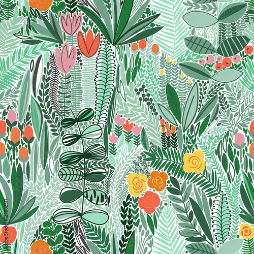 Tropical seamless floral pattern