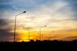 Siluate street light against twilight background