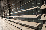 detail view of closed window blinds - 129890108