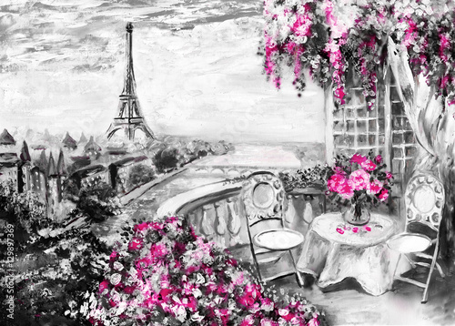 Zdjęcia na płótnie, fototapety na wymiar, obrazy na ścianę : Oil Painting, summer cafe in Paris. gentle city landscape. Abstract flower. View from above balcony. Eiffel tower, France, wallpaper. modern art