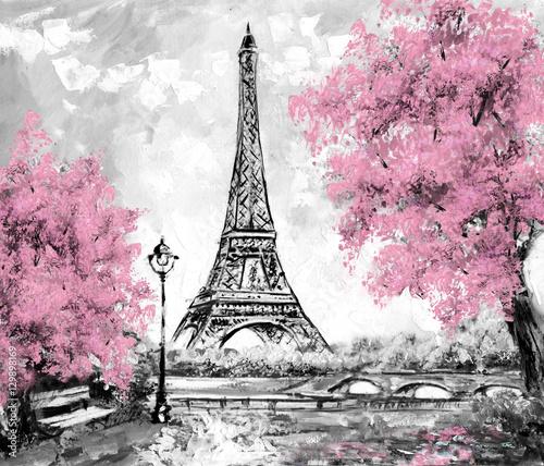 Oil Painting, Paris. european city landscape. France, Wallpaper, eiffel tower. Black, white and pink, Modern art - 129898169