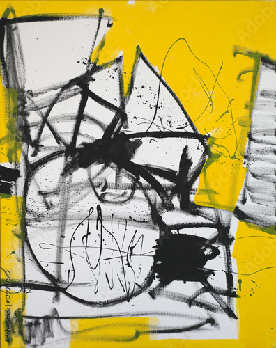 Abstract art background. Oil painting on canvas. Black, white and yellow texture. Fragment of artwork. Spots of oil paint. Brushstrokes of paint. Hand-painted. Modern art. Contemporary art © dpaint