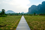 A wooden path above the paddy fields, Vang Vieng