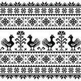 Ukrainian or Belarusian, Slavic folk art knitted black embroidery pattern with birds   - 129931189