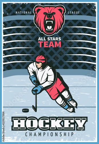 Hockey League Vintage Poster