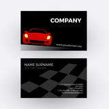 Vector abstract car, circuit race. Business card