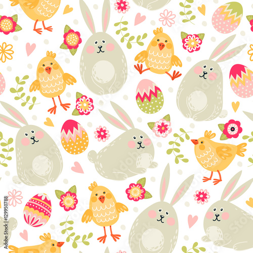 Materiał do szycia Seamless pattern with rabbits, chickens and eggs. Happy Easter!