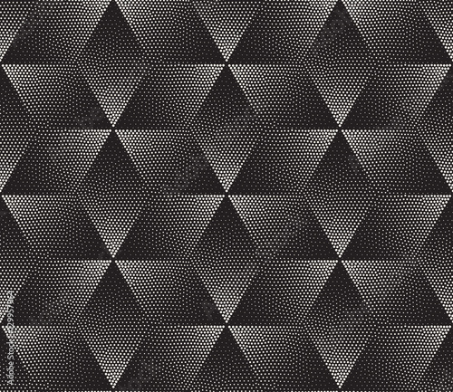 Vector Seamless Black and White Stippling Halftone Gradient Rhombus Pattern - 129957964
