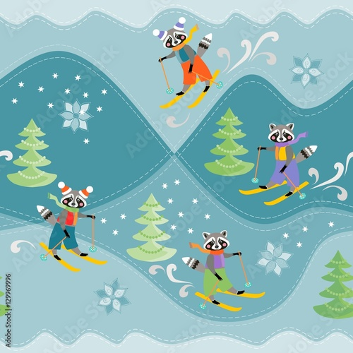 Materiał do szycia Cute funny raccoons on skiing. Winter seamless pattern. Print for fabric.