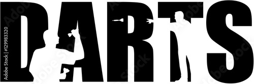 Darts word with cutouts