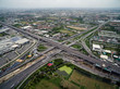 Aerial view above the busy Motorway & Ring Roads Inter-Change Systems