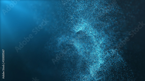 Tuinposter Abstract wave Digital particles floating wave form in the abyss abstract cyber technology de-focus background
