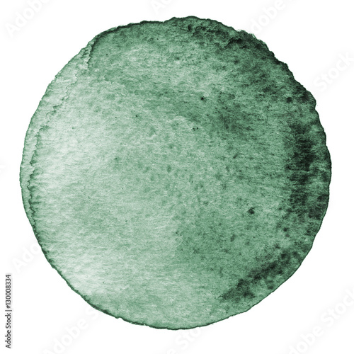 Gray watercolor circle. Stain with paper texture. Design element isolated on white background. Hand drawn abstract template - 130008334