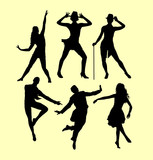 Man and woman dancing silhouette. good use for symbol, logo, web icon, mascot, sign, sticker, or any design you want.