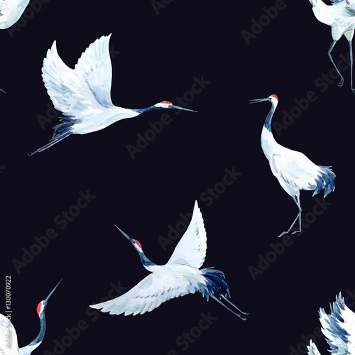 Watercolor crane pattern - 130070922