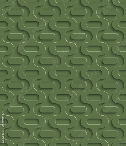 3D Seamless Pattern in Kale Color. - 130071339