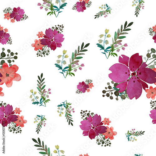 Materiał do szycia Vector Romantic floral seamless pattern with rose flowers and leaf. Print for textile wallpaper endless. Hand-drawn watercolor elements. Beauty bouquets. Pink, red. green on white background.