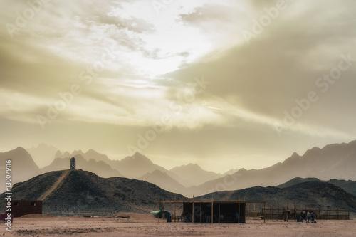 Desert landscapes in bedouin camp, Egypt. Low light photo. Poster
