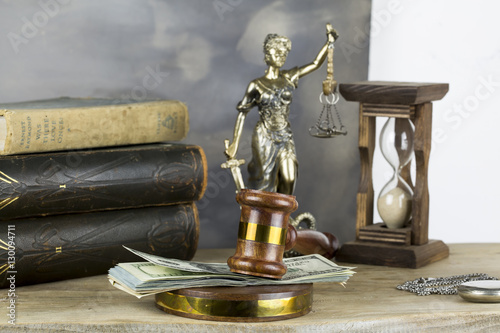 Poster Bribe in a Court Concept