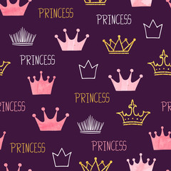 Little princess seamless pattern with watercolor and glittering crowns. Vector purple baby background.