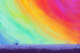 Colorful sky with elephants / illustration drawing / landscape