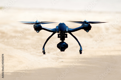 drone landing on the sand