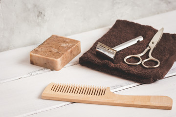 Mens hairdressing wooden desktop with tools