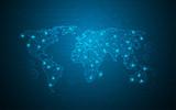 world map digital tech circuit background