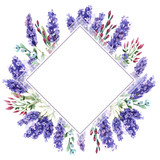Wildflower lavender flower frame in a watercolor style isolated.