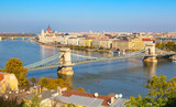 skyline panorama of Budapest, Hungary with Danube, chain bridge, Hungarian Parliament and houses street view
