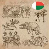 Madagascar - Pictures of life. Travel vector set. - 130195312
