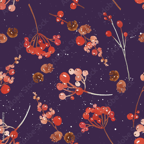 Cotton fabric Watercolor seamless Christmas pattern