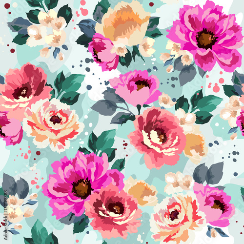 Materiał do szycia Beautiful seamless floral pattern with watercolor effect. Flower vector illustration
