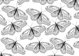Butterflies line art black and white pattern design background.
