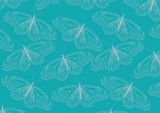 Butterflies line art pattern design on blue background.