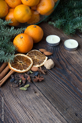 Poster Tangerines  and decorations for the holiday table