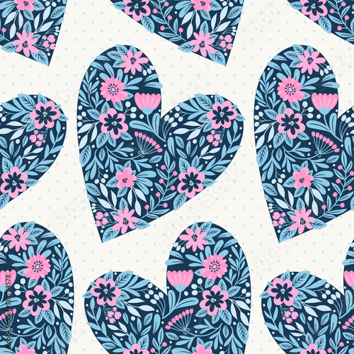 Cotton fabric Seamless pattern with hearts. Floral ornament