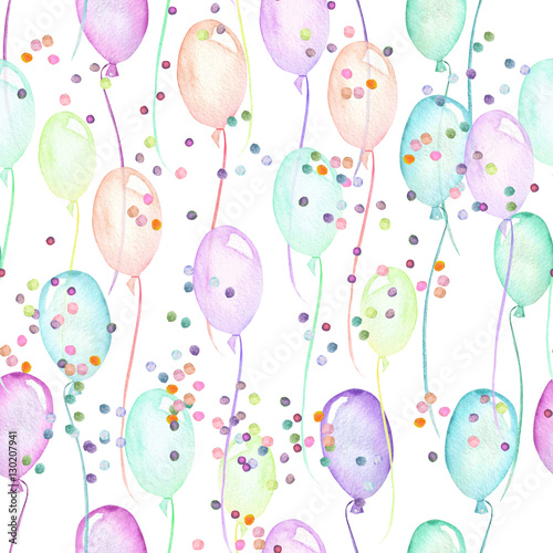 Seamless party pattern with multicolored air balloons and confetti, hand painted in watercolor on a white background - 130207941
