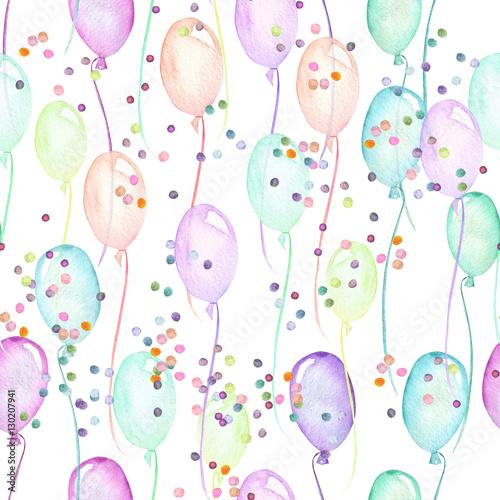 bezszwowy-przyjecie-wzor-z-stubarwnymi-lotniczymi-balonami-i-confetti-reka-malowal-w-akwareli-na-bialym-tle