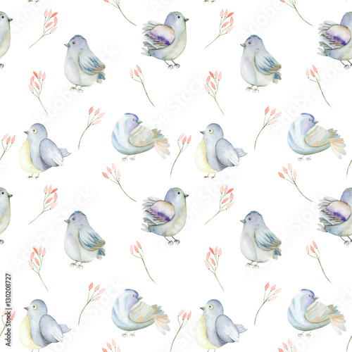 Seamless pattern of the watercolor blue birds and pink flowers branches, hand drawn on a white background - 130208727