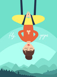 Fly yoga. Girl in the lotus position on the background of mountain landscape. woman in meditation. flat vector illustration.