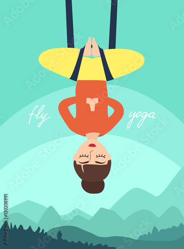 Plexiglas Groene koraal Fly yoga. Girl in the lotus position on the background of mountain landscape. woman in meditation. flat vector illustration.
