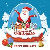 Vintage Christmas poster design with elf, Santa Claus, elf, reindeer, snowman in crystal ball characters.