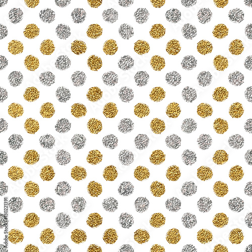 Seamless pattern of gold glitter and silver polka dots, hand drawn background of golden and silvern circle, vector pattern for flyer, wedding card, invitation, holiday, wrapping, textile, web design - 130221391